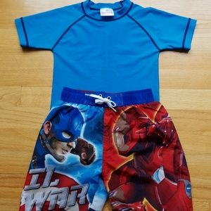 Marvel Bathing Suit with Rash Guard, Size 4-5